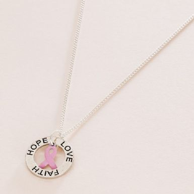 Breast Cancer Awareness Necklace, Faith Hope Love | Someone Remembered